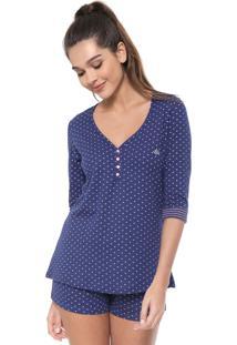 Pijama Malwee Liberta Estampada Azul-Marinho