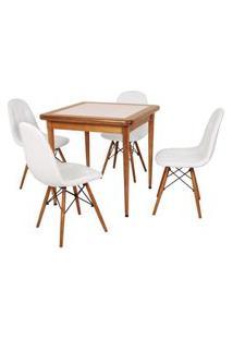 Conjunto Mesa De Jantar Em Madeira Imbuia Com Azulejo + 4 Cadeiras Botonê - Branco