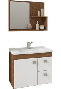 Gabinete Suspenso Para Banheiro Hortência 46X55Cm Amêndoa E Branco