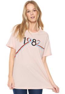 Camiseta Carmim Estampada Rosa