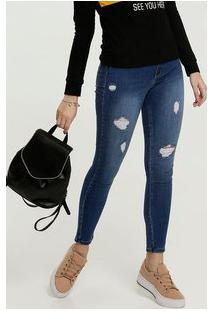 Calça Jeans Destroyed Cigarrete Feminina Sawary