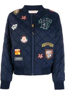 Tory Burch Quilted Badge Jacket - Azul