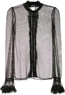 Patbo Blusa Transparente Com Brilho - Preto