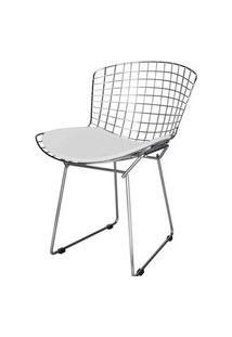 Cadeira Bertoia Assento Courrissimo Branco Cromada 4335 Branco Cromada