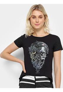 Camiseta Acostamento Caveira Floral Feminina - Feminino