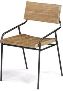 Cadeira Vail Com Assento Em Madeira Driftwood Base Aco Grafite - 46004 - Sun House