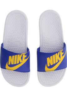 Chinelo Nike Benassi Jdi Print - Slide - Masculino - Branco/Azul