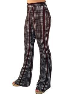 Calça 101 Resort Wear Flare Cintura Alta Xadrez Preto-Branco-Vermelho