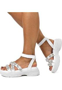 Sandália Damannu Shoes Anette Napa Feminina - Feminino-Branco