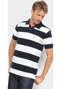 Camisa Polo Tommy Hilfiger Listrada Block Stripe Regular Masculina - Masculino-Azul+Branco