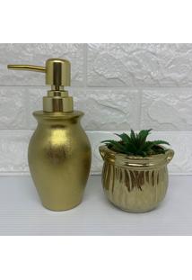 Kit Porta Sabonete Líquido E Vaso Com Suculenta Dourado