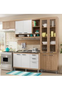 Cozinha Compacta Sem Tampo 9 Portas 5816 Argila/Branco - Multimóveis