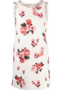 Blumarine Vestido Com Estampa Floral E Aplicação De Contas - Branco