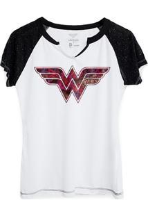 Camiseta Raglan Dc Comics Wonder Woman Logo Fashion Bandup! - Feminino