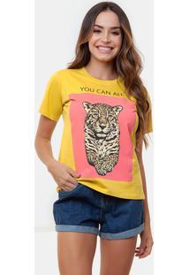 T-Shirt Manola Onã§A Com Amarelo Multicolorido - Amarelo - Feminino - Dafiti