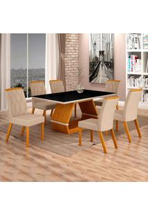 Conjunto De Mesa De Jantar I Com 6 Cadeira Esmeraldas Veludo Preto E Palha