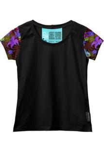 Camiseta Baby Look Feminina Algodão Estampa Flor Conforto - Feminino-Roxo+Preto