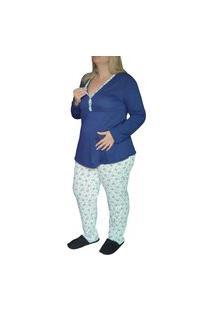 Pijama Inverno Plus Size Amamentação Floral Linda Gestante
