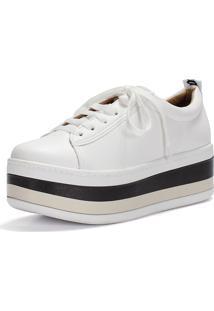 Tênis Flatform Frida Shoes Sola Alta Ariella Off-White