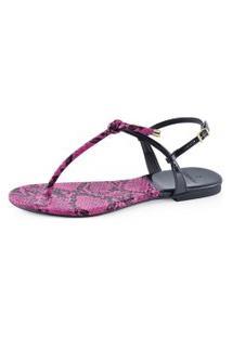 Sandália Flat La Femme Slim Nó Piton Pink