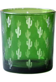 Castiçal De Vidro Verde Cactus Urban Home
