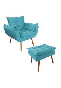 Combo Poltrona Decorativa Opalla Mais Puff Pés Palito Suede Azul Turquesa - Ds Móveis