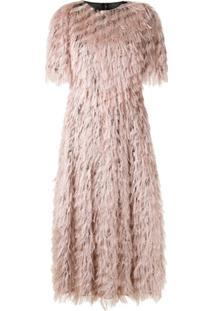 Dolce & Gabbana Vestido Midi Plumas E Lurex - Rosa