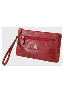Bolsa Carteira Clutch Couro Mariart 261L Lezard Vermelha