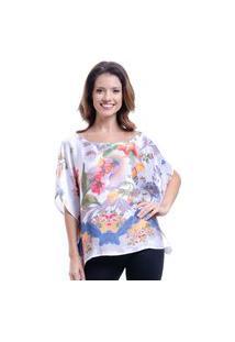 Blusa 101 Resort Wear Poncho Ombro A Ombro Crepe Cetim Estampado Flor Tapecaria
