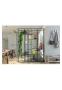 Estante De Metalon E Madeira Para Sala De Estar Ladder - Azul Secreto - 1,50X0,40X2,00M
