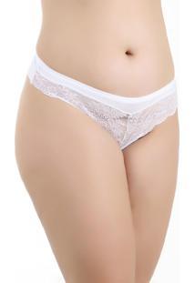 Tanga Nina Fio Dental Plus Size Em Renda - Branca - Branco - Feminino - Dafiti