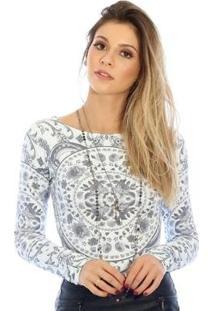 Blusa Ficalinda Manga Longa Proteção Uv Fashion 50+ Feminina - Feminino-Preto+Branco