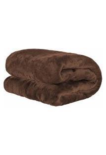 Cobertor Manta Microfibra Felpuda Queen 2,40M X 2,20M Com Toque Aveludado - Tabaco