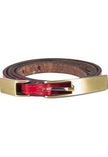 Cinto Canellado Slim Mini Com Fivela E Passante Metal Vermelho