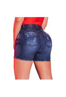 Bermuda Feminina Pit Bull Jeans 39702 Pitbull Com Cinto Azul
