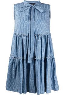 Frankie Morello Vestido Com Sobreposição E Babados - Azul