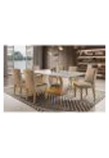 Conjunto De Mesa De Jantar Com 6 Cadeiras Estofadas Maia Animalle Off White E Chocolate