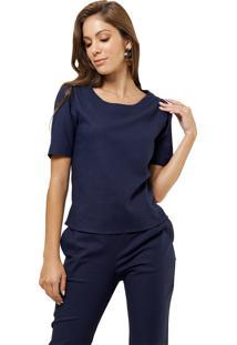 Blusa Mx Fashion Com Zíper Beatrice Azul Marinho