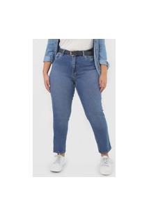 Calça Jeans Calvin Klein Jeans Mom Barra Dobrada Azul