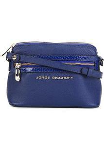 Bolsa Couro Jorge Bischoff Mini Bag Croco Feminina - Feminino-Marinho