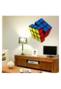Adesivo De Parede Cubo Mágico Colorido - M 57X50Cm