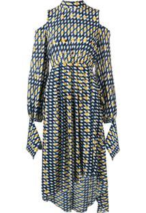 Rokh Vestido Assimétrico Com Ombros A Mostra - Azul