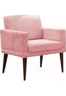 Poltrona Decorativa Emília Pés Palito Suede Rosa - Ds Móveis