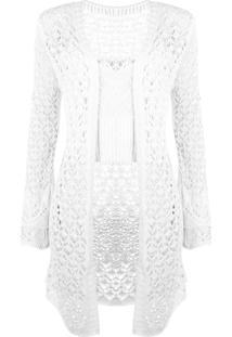 Conjunto Outletdri Top E Kimono Curto Tricô Branco