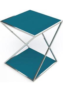 Mesa Lateral Califa Azul Base Cromada 60 Cm (Larg) - 40952
