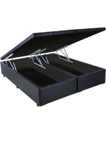 Cama Box Casal Com Bau Pistã£O A Gã¡S Preto Suede Bipartido - 138X188 - Multicolorido - Dafiti