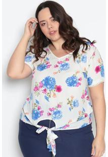 Blusa Floral Com Amarração - Off White & Azul- Maclumaclu