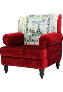 Poltrona Domi Decorativa 01 Lugar Anastacya Print Paris Vermelho