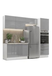 Cozinha Completa Madesa Lux 260005 Com Armário E Balcão Branco/Cinza Branco