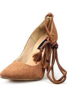 Scarpin Love Shoes Social Bico Fino Salto Alto Lace Up Amarração Marrom